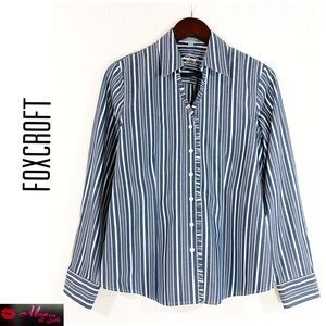 FOXCROFT Non Iron 100% Cotton Ruffle Trim Shirt